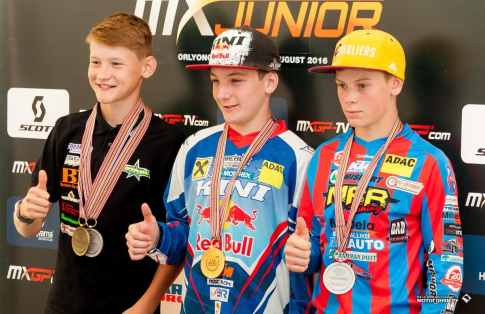 FIM Junior Motocross World Championship - Russia, Orlenok: Максим Краев (слева) - 3-е место, класс 85 куб.см.