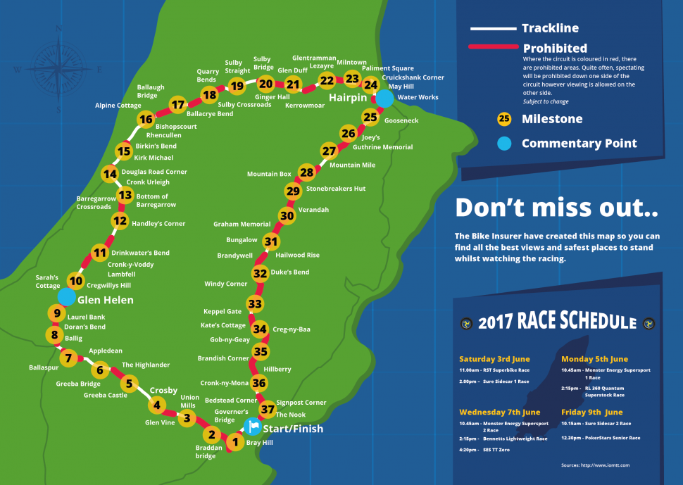 Mountain Course из гида по Isle of Man TT 2017 года