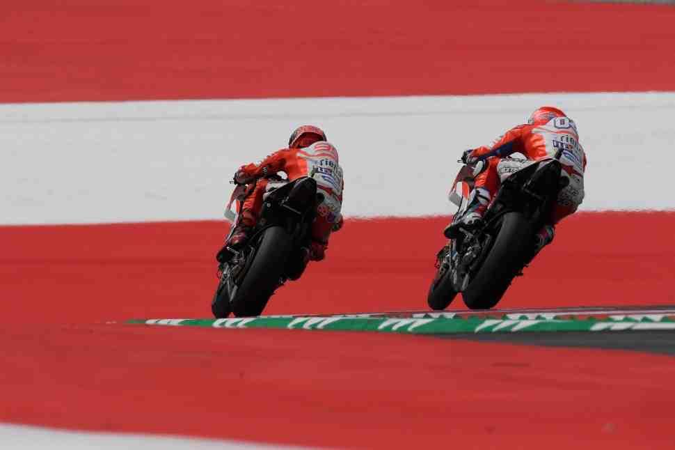 MotoGP: Заводские пилоты Ducati занимают весь TOP-3 на FP1 Гран-При Австрии