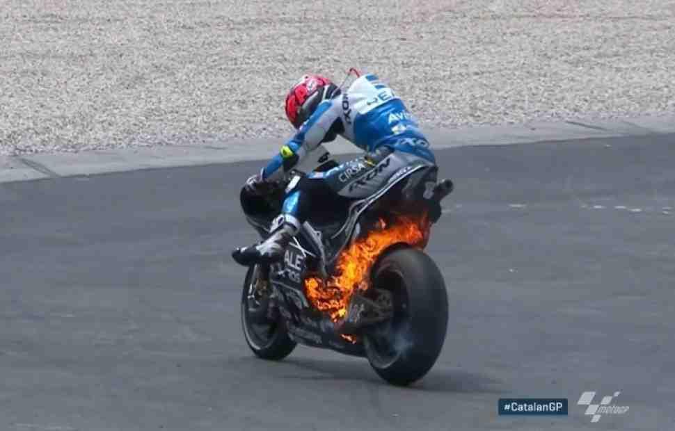 MotoGP: Видео - Тито Рабат сгорел на работе