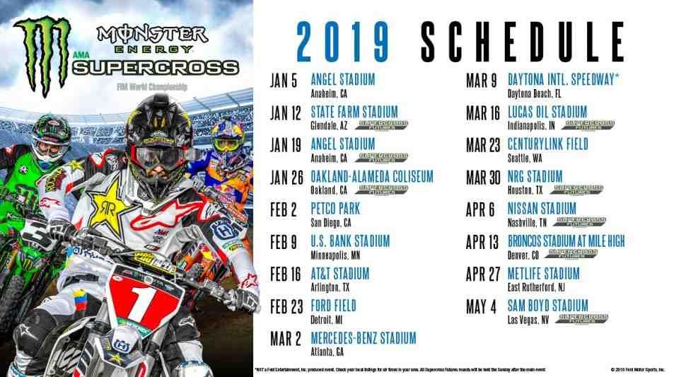 FIM/AMA Supercross: Календарь Чемпионата Мира 2019