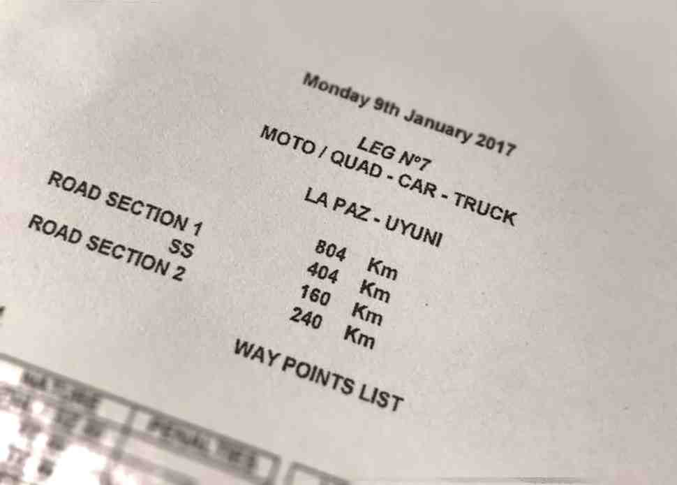 Дакар-2017: Маршрут СУ7 - La Paz-Uyuni полностью изменен