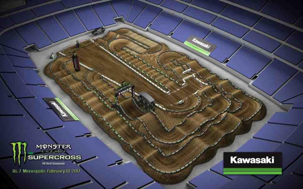 Суперкросс: анимация трассы 7-го этапа Чемпионата Мира/AMA - Minneapolis