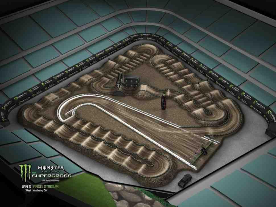 Суперкросс: анимация трека 1 этапа Чемпионата Мира-Америки, Anaheim