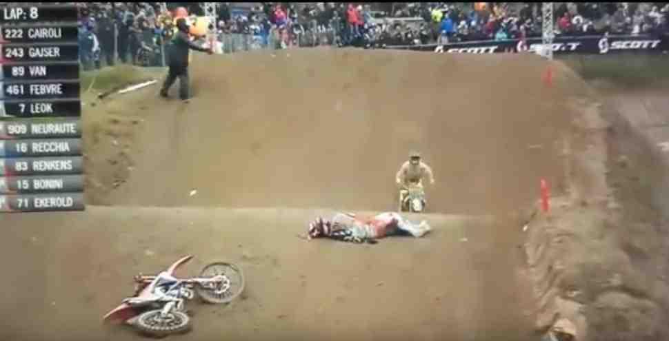 Мотокросс: Тим Гайзер - опасное падение в Mantova International