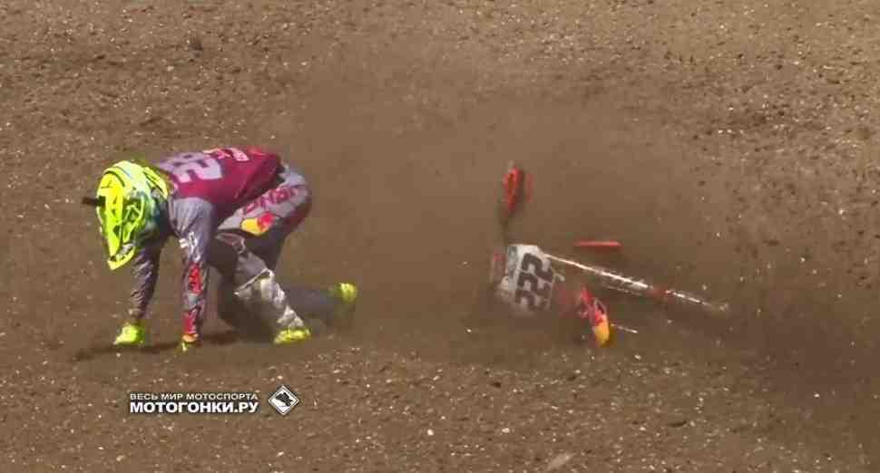Мотокросс MXGP: видео инцидента между Херлингсом и Кайроли