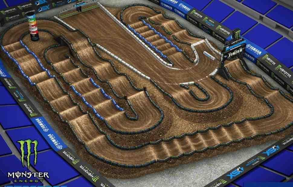 AMA Supercross: анимация трассы для 4-го этапа Indy 450SX с комментариями Брока Гловера