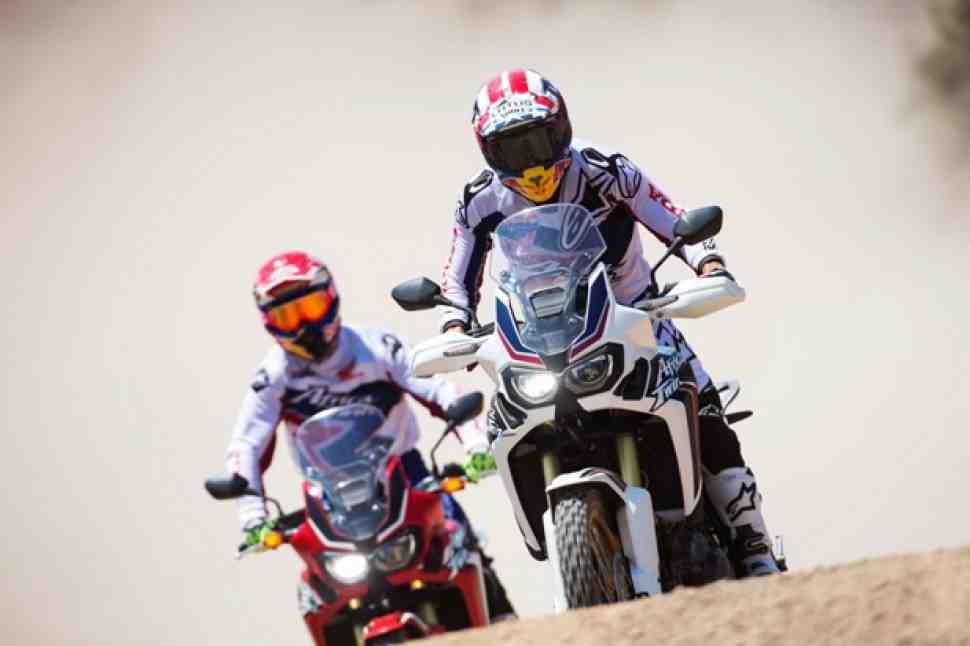 Видео: Марк Маркес и Хуан Барреда обкатали Honda Africa Twin CRF1000L